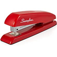 SuperFlatClinch 50 Half Strip Desktop Stapler 5000599A 50 Sheet Capacity Swingline Stapler Black//Red