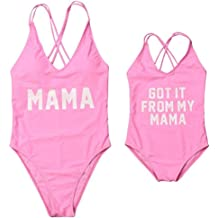 329d946e270a3 Mother Girl Swimwear Mommy and Me Matching One Piece Beach Wear Family  Letters Print Cross Back