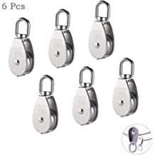 MroMax M20 Lifting Crane Swivel Hook 20mm Dia 304 Stainless Steel Single Pulley Block Hanging Wire Towing Wheel Silver Tone