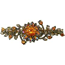 Bella Pair of Crystal Flower Barrettes Small Hairclip for Thin Hair NF86400-GL11