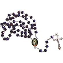 Saint Teresa de Avila Patron of of Spain Sick People Faceted Rondelle 8mm Beads Rosary with Tertium Millennium Crucifix and Silver Plated Centerpiece Includes a Blessed Prayer Card