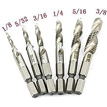 Breynet 6pcs Drill Tap Combination Bit Set HSS Combination Drill and Tap Bit Set Metric Deburr Countersink Drill Bit 1//4 Hex Shank 6-32NC 8-32 NC 10-32 NC 10-24 NC 12-24 NC 1//4-20 NC