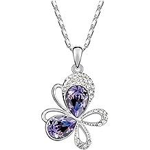 Ouxi 5A Austrian Crystal Necklace Sautoir Pendant Butterfly Double Kick Colour Black