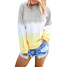 DRAGONHOO Womens Casual O-Neck Gradient Contrast Color Long Sleeve Top Pullover Sweatshirts tank outwear for women