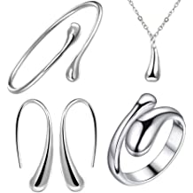 2bd70fe30 NYKKOLA 925 Sterling Silver Necklace Earring Ring Bangle Set for 4 Pcs
