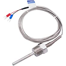 K Thermocouple Probe Temperature Measurement Sensor 5x100mm Stainless Steel Probe 2m//6.6ft Wire M8 x 13mm Thread Size