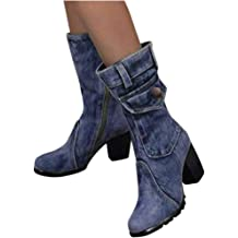 LBPSUUEW Womens High Boots Lace-Up Mixed Colors Flat Heels Shoe Winter Large Size Casual Boots