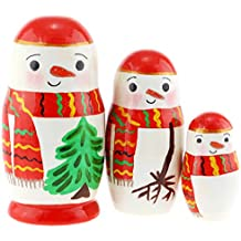 Azhna 5 pcs Snowman Nesting Doll Hand Painted Russian Doll 10.5 cm Wooden Stacking Doll