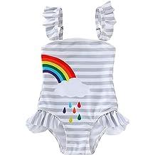 Cuekondy 1-5 Years Old Toddler Baby Girls Kids Stripe Halter One Piece Swimsuit Swimwear Beach Bathing Suit