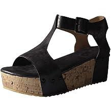 0258e04b7 Goddessvan 2019 Womens Flats Strap Buckle Beach Shoes Open Toe Thick Bottom  Roman Sandal Studded Wedge