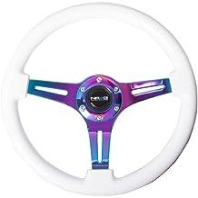 NRG Innovations ST-015MC-BSBGalaxy Classic Wood Grain Wheel 350mm 3 Neochrome spokes - Black Sparkled Color