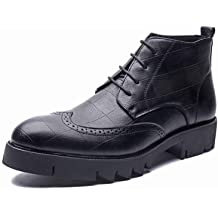 Color : Black, Size : 40 EU DFYYQ Ankle Boots for Men Lace Up Microfiber Leather Side Zipper Burnished Studs Non-Slip Round Toe Stitch Shoes