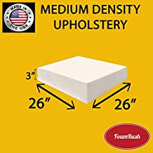 FoamRush 1H x 26W x 32L Upholstery Foam High Density Firm Foam Soft Support Chair Cushion Square Foam for Dinning Chairs, Wheelchair Seat Cushion Replacement