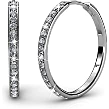 d77d88d71 Cate & Chloe Bianca 18k White Gold plated brass Hoop Earrings with  Swarovski Crystals,