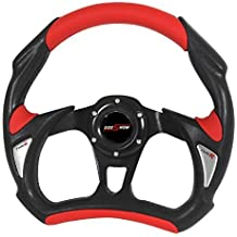 AJP Distributors 350mm Black Suede Steering Wheel Newbie, Red