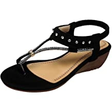 iYBUIA Bohemia Sandals for Women Tie Flats Gladiator Leather Pom-Pom Sandals