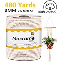 Brown Macrame Cord 3mm x 147 yd Soft 3-ply Twisted Cotton Rope for Handmade Colored 135m Cotton Yarn String for Plant Hanger Dream Catcher and DIY Projects Brown MB CORDAS Taupe Wall Art