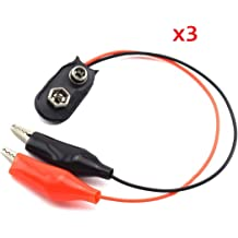 uxcell 5Pcs DC 5.5x2.1mm Male Power Faux Leather 9V Battery Buckle Clip Connector Holder Cable