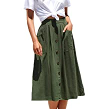 3d5463228b45 Meyeeka Womens Casual High Waist Flared A-line Skirt Pleated Midi Skirt with  Pocket
