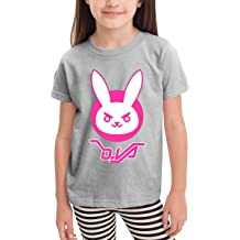 6-24 Month Baby T-Shirt Loose Self-Cultivation 2-6 Year Old Childrens T-Shirt Overwatch Dva Bunny Logo Blue 4T