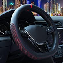 Black D Shaped Flat Bottom Microfiber Leather Anti-Skid Breathable Fit 14.5-15 Mayco Bell D Cut Steering Wheel Cover