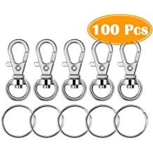 QICI 100 Pcs Metal Swivel Clasps Metal Lobster Claw Clasp Hook Key Rings and 1 inch Keychain Make Your Own Key Ring