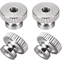 M4 Round Knobs with Collar 304 Stainless Steel uxcell Knurled Thumb Nuts 6 Pcs