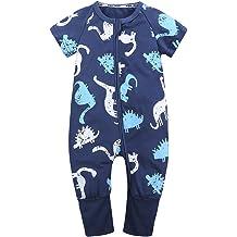 6d2ded7dc Kids Tales Baby Boys Girls Zipper Short Sleeve Pajama Sleeper Cotton  Romper(Size 3M-