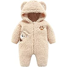 Fiaya Baby Infant Girls Boys Winter Cute Cartoon Penguins Fur Hoodie Coat Jacket Thick Warm Clothes NB-24M White, 6-12 Months