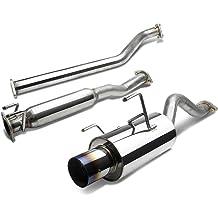 DNA Motoring CBE-NM09-BT Round Burnt CBENM09BT Stainless Steel Catback Exhaust System