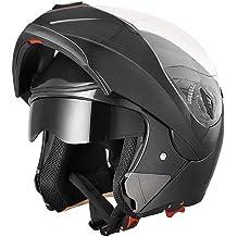 b42ff497 AHR Full Face Flip up Modular Motorcycle Helmet DOT Approved Dual Visor  Motocross Black XL