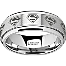 Thorsten Optimus Brush Finish Raised Center Polished Edge Tungsten Ring 7mm Wide Wedding Band from Roy Rose Jewelry