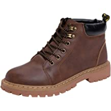 Hopwin Mens Leather Combat Ankle Boots Men Lace-up Military Motorcycle Boot Winter Waterproof Casual Short Boots