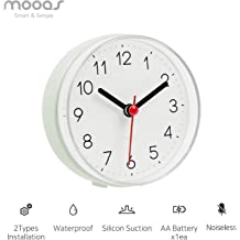 Mooas Bathroom Bath Kitchen Silent Waterproof Shower Table,Wall,Suction,3in1 Clock