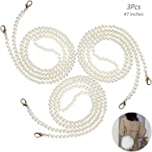 DIY Round Imitation Pearl Bead Replacement Chain Strap 4pcs Purse Chain Strap Replacement with Metal Buckles and 1pcs Pearl Key Chain