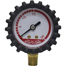 2-Inch Uniweld G8S Gauge with 0-600 PSI and 1//4-Inch NPT Bottom Mount Gold Steel Case