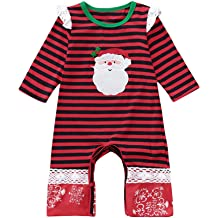 Theshy Christmas Newborn Infant Baby Girl Boy Striped Lace Romper Jumpsuit Clothes Girls Clothing Childern Clothes