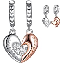 a1d344d02 FOREVER QUEEN Mom Mother Daughter Heart Love Charms Dangle Charm Bead Set Fit  Pandora Bracelet for European Snake Chain 925 Sterling Silver .