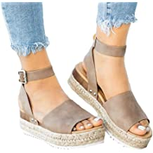98ce45e6121 Athlefit Women  39 s Platform Sandals Espadrille Wedge Ankle Strap Studded Open  Toe Sandals