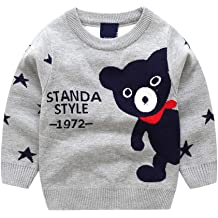 Waymine Kids Baby Kids Long Sleeve Cartoon Bear Letter STANDA Style Jacquard Knit Tops Sweater