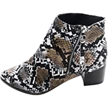 ZOMUSAR Womens Boots New Women Suede Round Toe Pure Color Square Heels Lace-UP Keep Warm Snow Booties