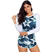 31291ae13e Hypothesis_X ☎ Women Long Sleeve Swimwear 24 Star Print Quick-Drying  Surfing .
