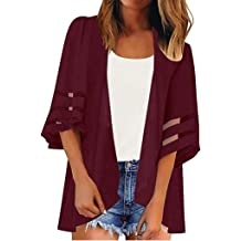 ANJUNIE Women Halloween Printing Cardigan Mesh Panel 3//4 Bell Sleeve Chiffon Casual Loose Kimono Jacket Outwear