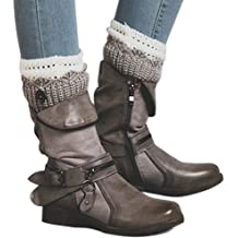 ef87ff07efcc LALA IKAI Women Leather Combat Boots Low Heel Ankle Biker Boots with Side  Zipper Casual Shoes