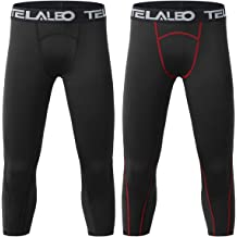 ac5b4fd389 TELALEO Boys Youth Compression Base Layer Pants 3/4 Sports Tights Running  Leggings Capris for