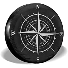 Tire Cover Compass Vintage Portable Polyester Universal Spare Wheel Tire Cover Wheel Covers for Jeep Trailer RV SUV Truck Camper Travel Trailer Accessories 17 Inch