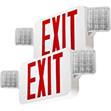 1 Pack Red Exit Emergency Sign with 2 Lamp Heads Fire Exit Sign with Emergency Lights SPECTSUN LED Exit Sign Light with Battery Backup Hardwired Exit Sign Plastic Modern Exit Sign