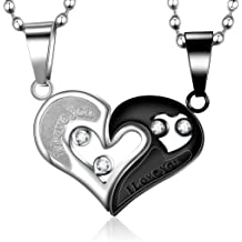 0871c5c6ac Evermarker Stianless Steel His & Hers Lover Heart-shape Couple Pendant  Necklace (Black&