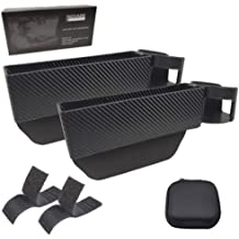 Velcro Strips and Coin Bag Car Console Side Organizer Seat Gap Filler Black Car Seat Pockets with Cup Holder