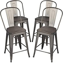 Set of 2 High Back Black Metal Stackable Side Dining Chairs Bistro Cafe Kitchen Indoor Outdoor VIPEK 30 Inches High Bar Stools Counter Height Chairs with Solid Elm Wood Top Seats